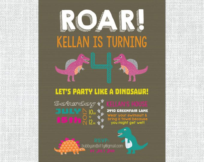Custom Dinosaur Birthday Invitation Dino Party