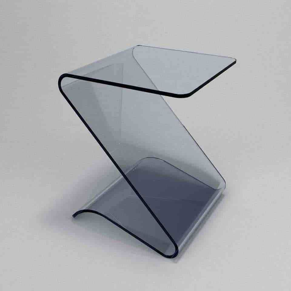 Zetas Curved Glass Side Table Glass Side Tables Curved Glass