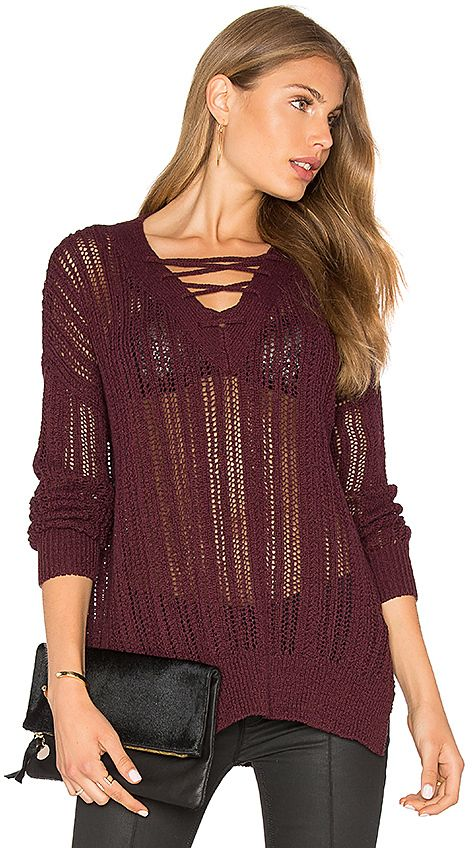 Michael Stars V Neck Lace Up Tunic in Wine.  597564b6f