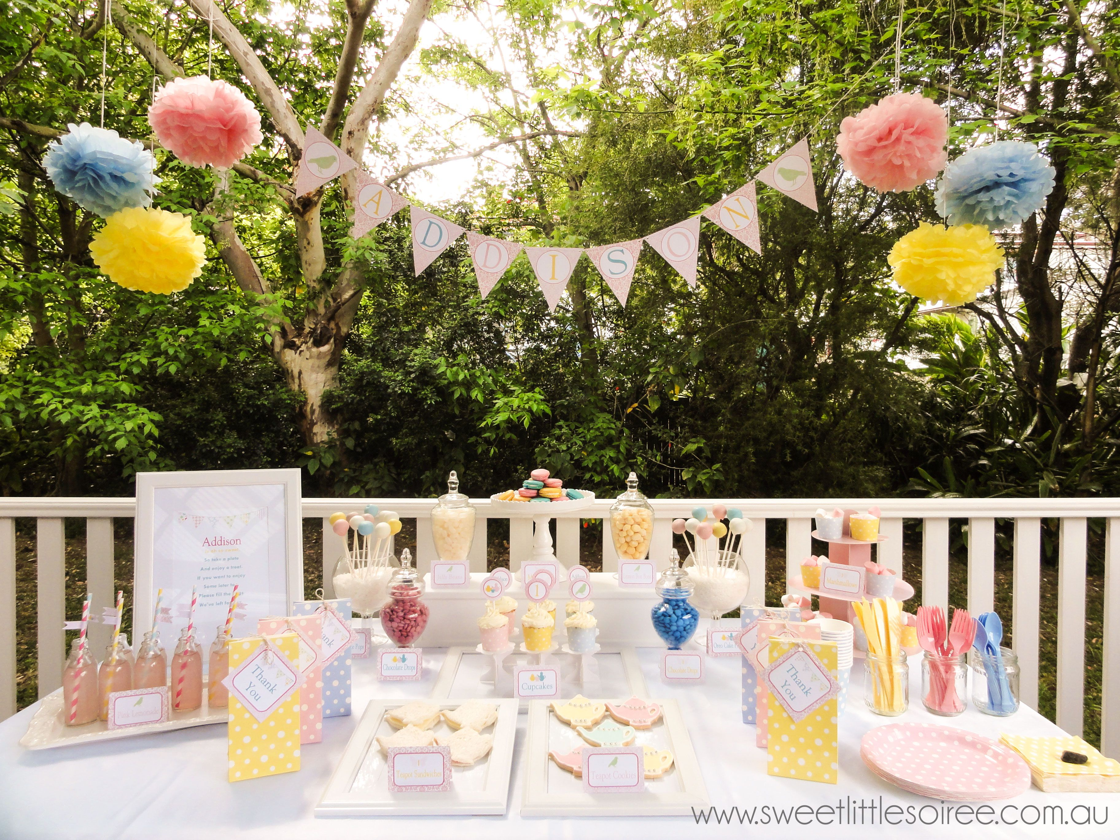 Garden tea party. Beautiful pink, blue and yellow colours. Perfect ...