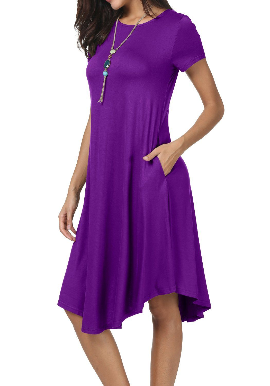 3fcbd9eda8ed levaca Womens Summer Crew Neck Short Sleeve Loose Swing Party Dress Purple  M    More