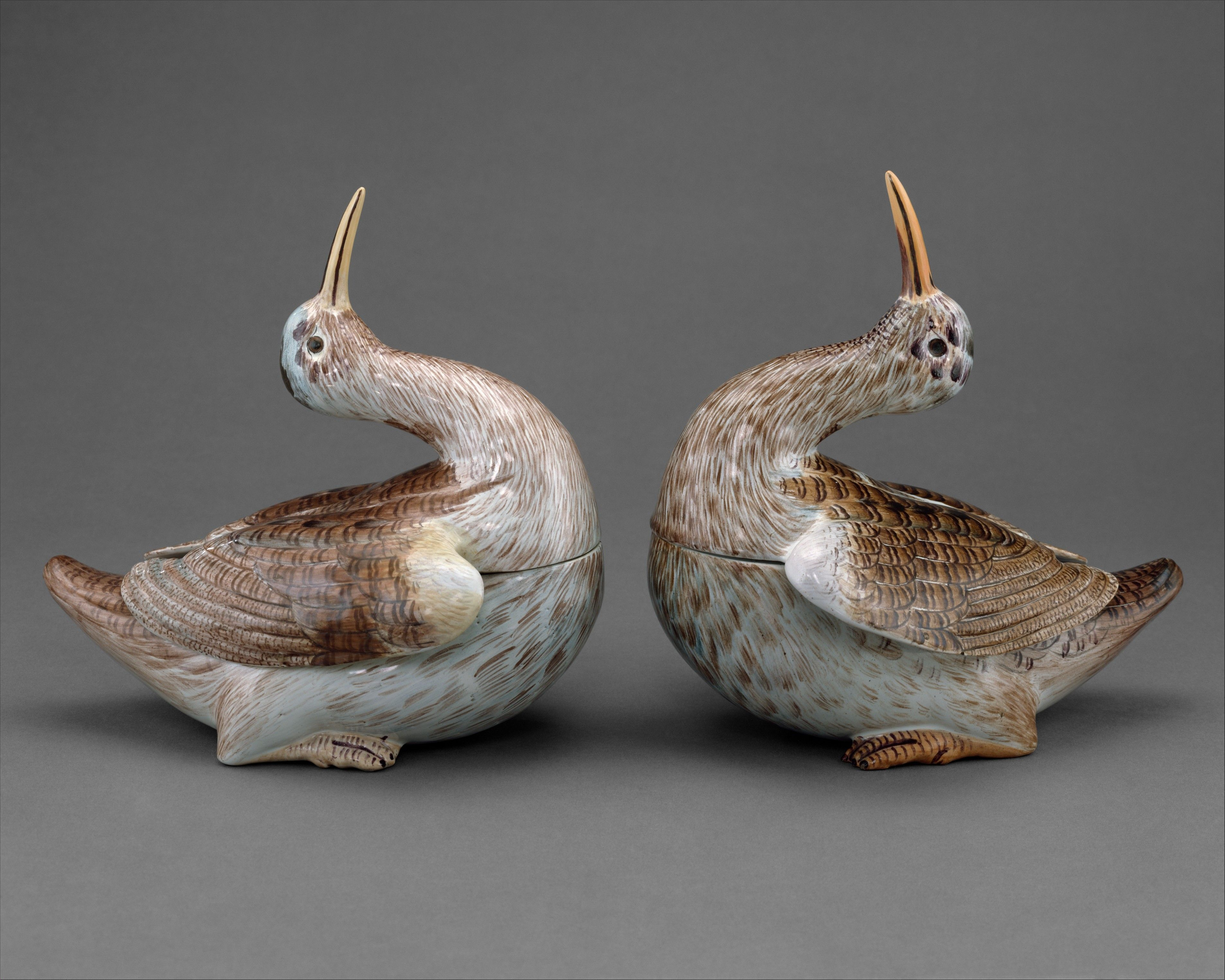 Two tureens in the shape of woodcocks