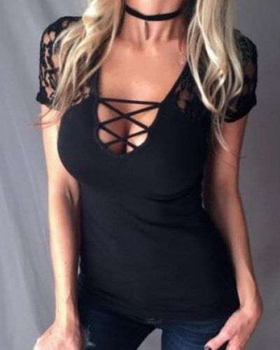 Deep v neck lace up t shirt lace splicing plunging neckline tops for women d1c158205