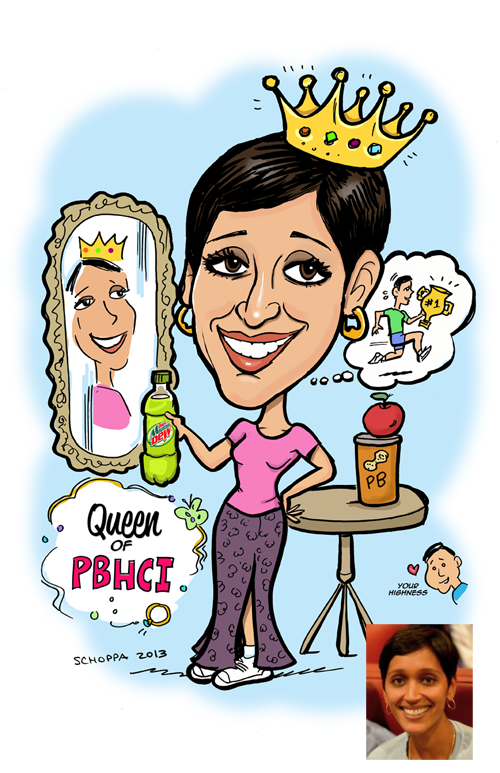 Gift caricature of runner and queen of her department.