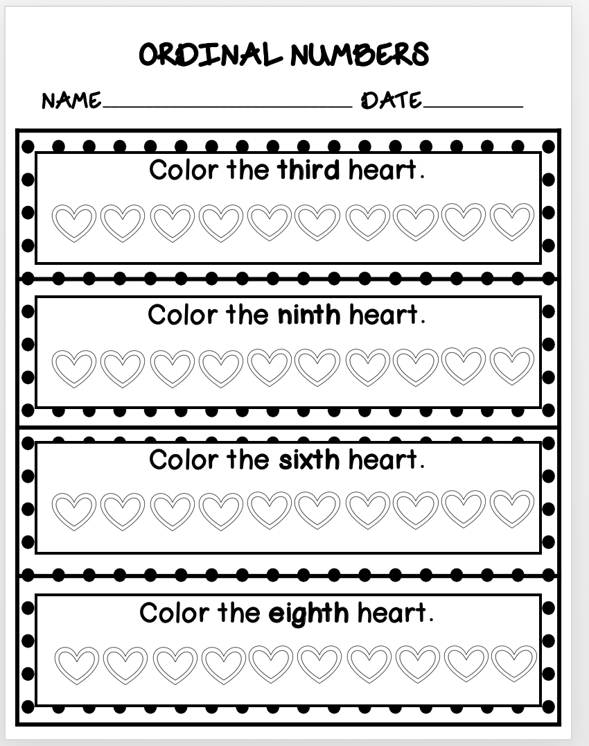 Valentines Day Math Ordinal Numbers 1 10 Ordinal Numbers Math Valentines Numbers 1 10 [ 1076 x 850 Pixel ]
