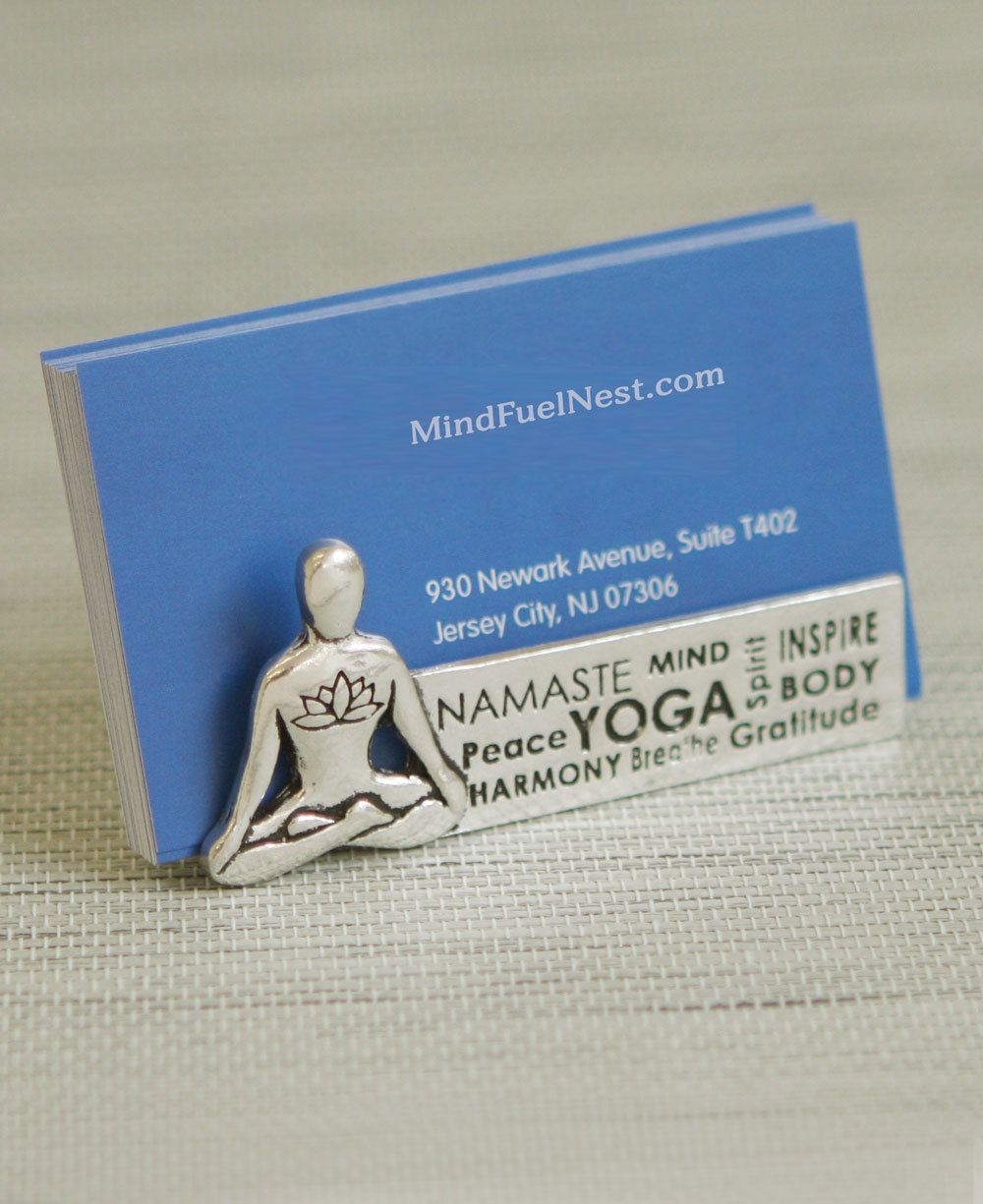 Yoga figure business card holder stamped pewter business card yoga figure business card holder find personalized business cards in pretty patterns at mouseandmarkerbusiness cards reheart