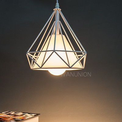 Vintage Diamond Shape Pendant Light Geometric Cage Ceiling Chandelier Lamp Shade