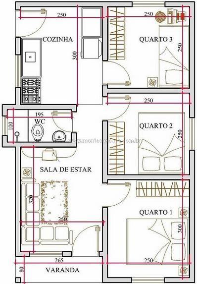 Plano de casa en 45 metros cuadrados y 3 dormitorios - Como sacar los metros cuadrados de una habitacion ...