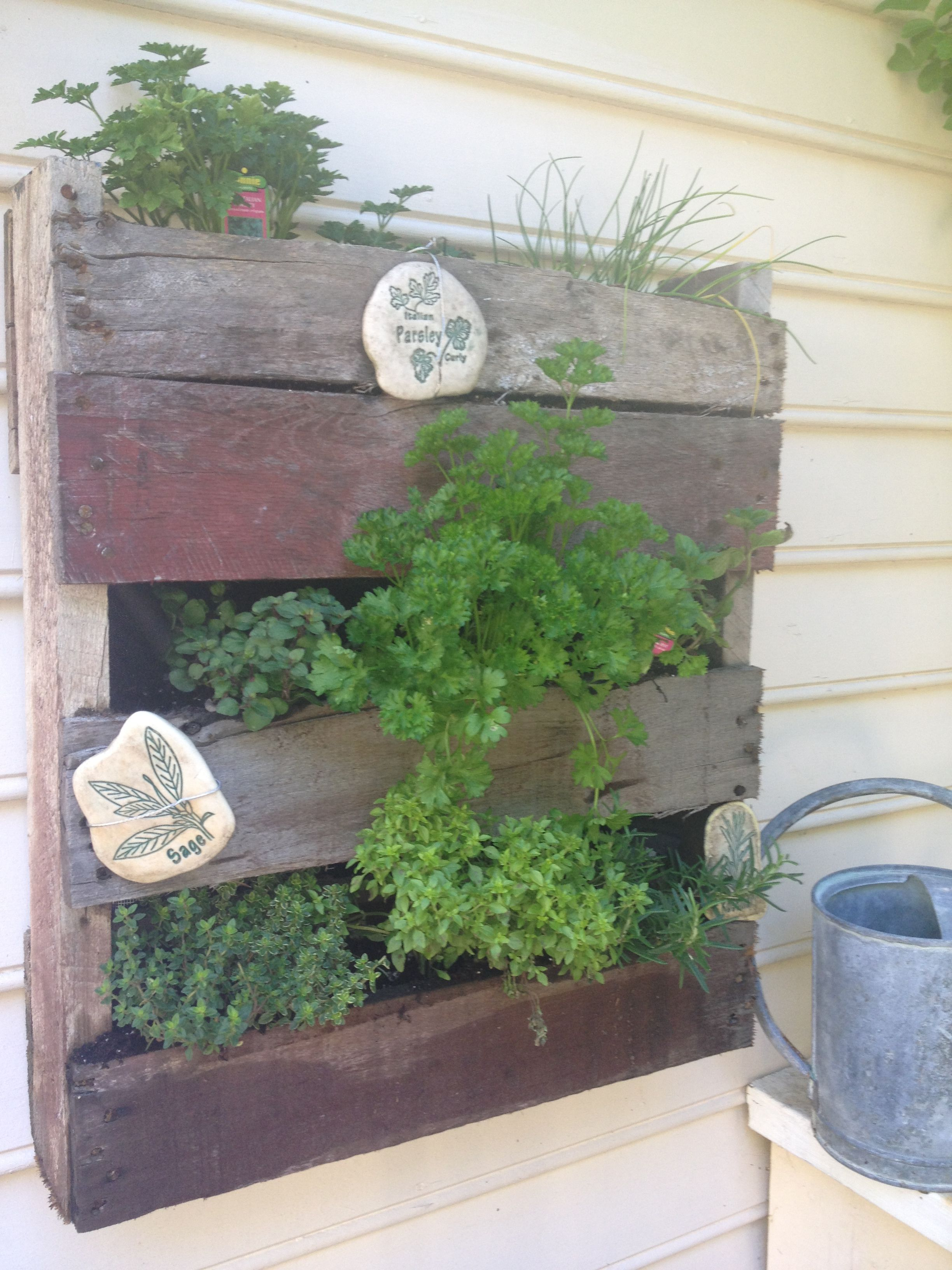 Diy herb garden made of pallets refresh your eyes and mind with pallet - Mini Pallet Herb Garden Just Trim To The Size You Want Hang It