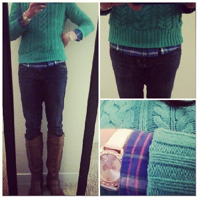 Old Navy cableknit sweater, Old Navy flannel shirt, jeans, riding boots