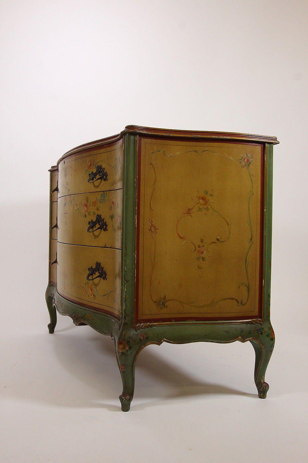 Beau Antique Robert W Irwin Hand Painted Dresser Chest Of Drawers U0026 Mirror  Furniture