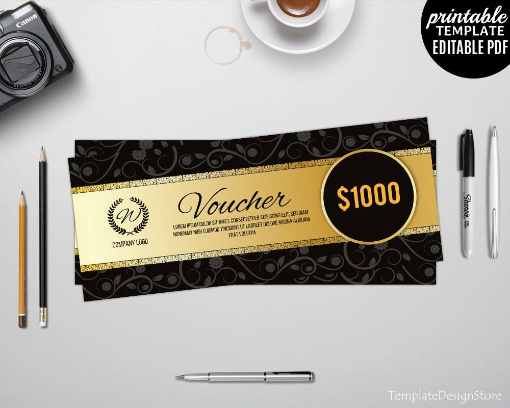 gold and black gift voucher template discount card template gift