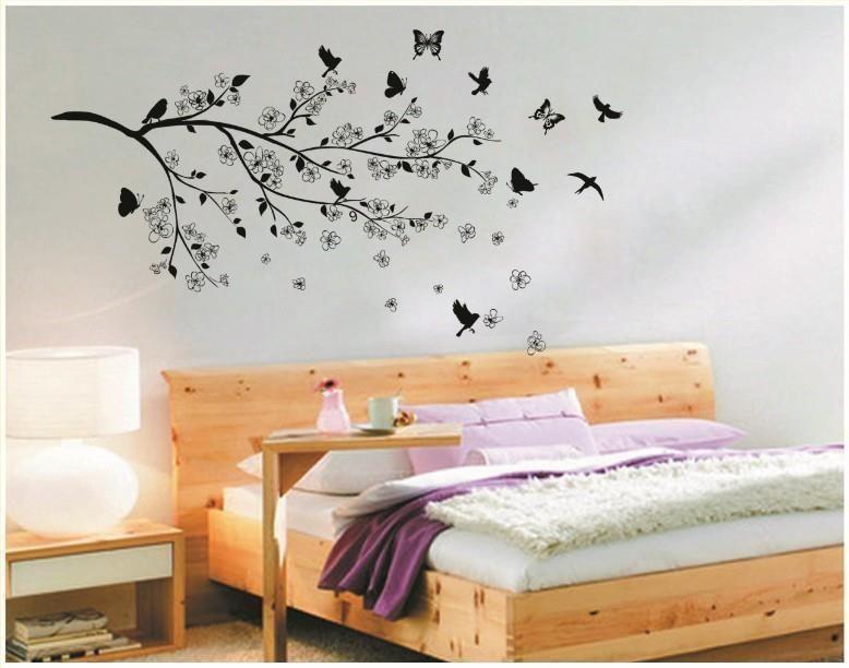 W054 wandtattoo schlafzimmer übers bett wohnzimmer esszimmer ast blätter vögel in möbel wohnen dekoration