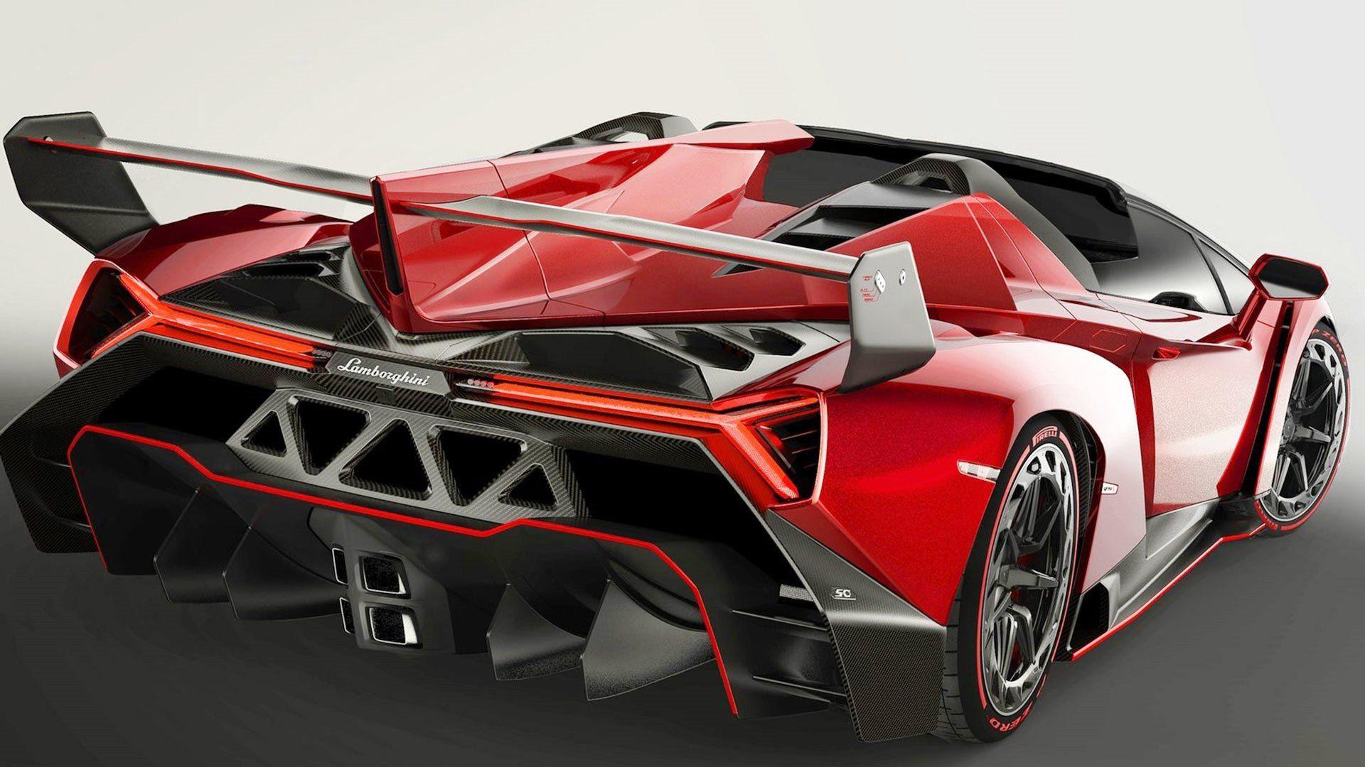 Superbe Lamborghini Veneno Back View Red Sport Cars Hd Wallpaper