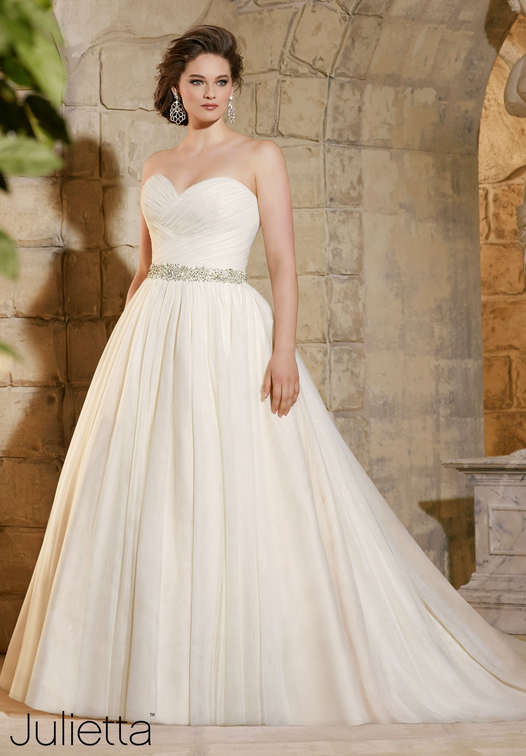 3182 Wedding Gowns / Dresses Asymmetrically Draped, Soft Net Ball ...