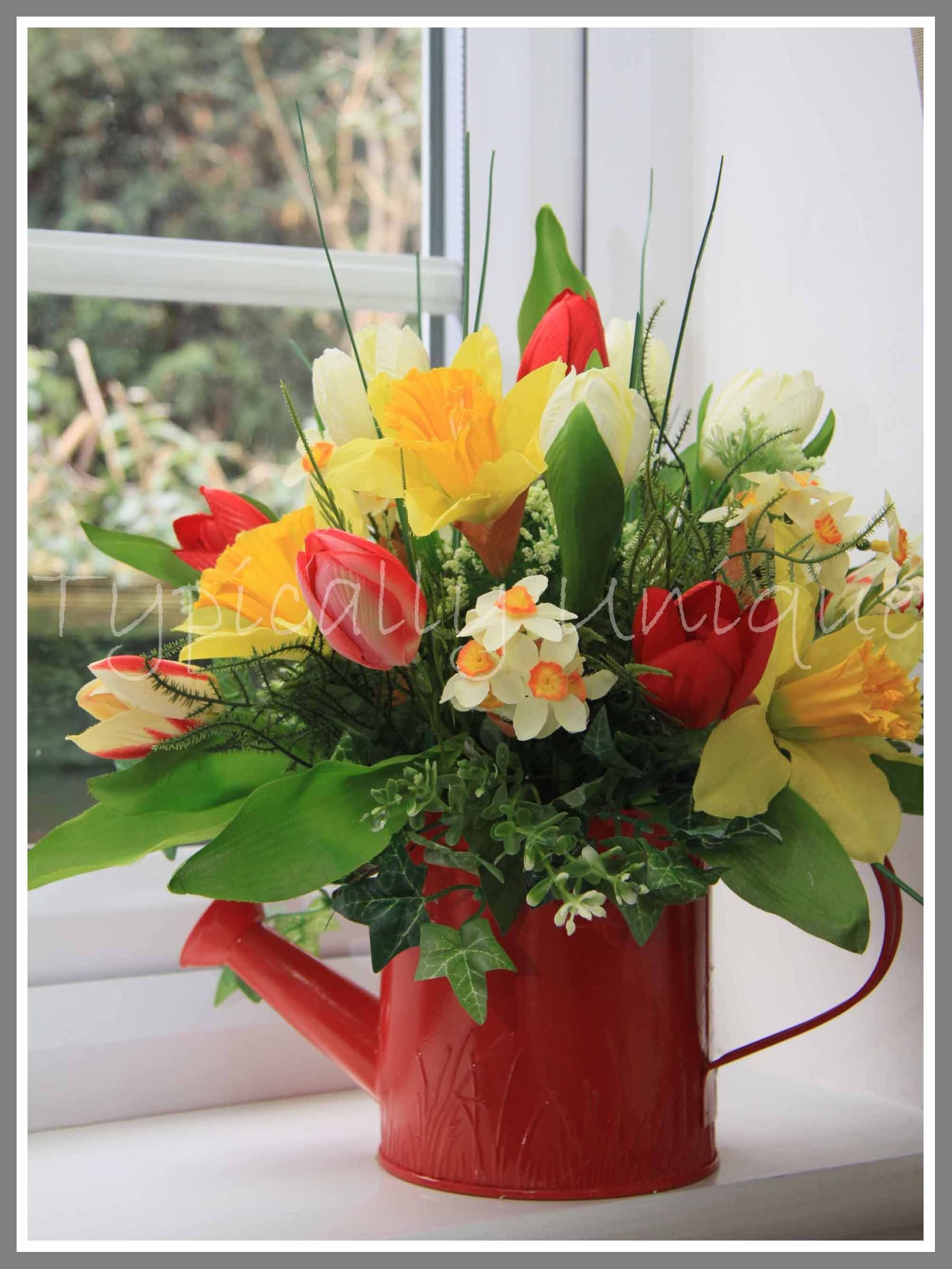 Spring in a watering can Artificial Silk Flower