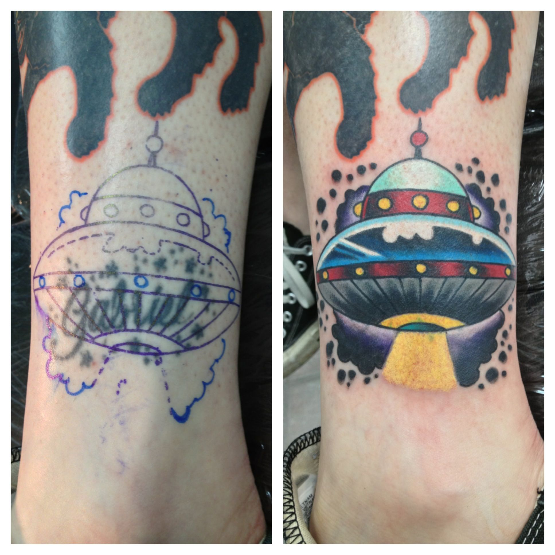 Name to spaceship coverup tattoo by matt stankis northsidetattoos