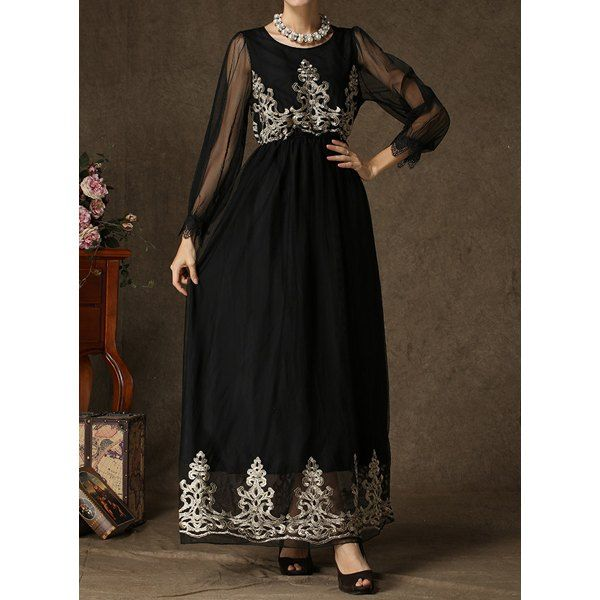 Voile Spliced Embroidered Maxi Dress $21.19
