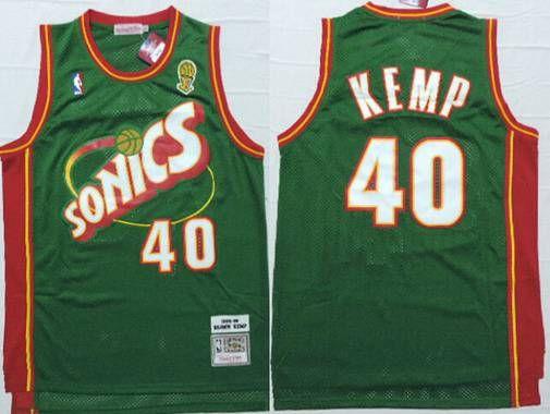 Men's Seattle Supersonics #40 Shawn Kemp 1995-96 Green Hardwood Classics Soul Swingman Throwback Jersey
