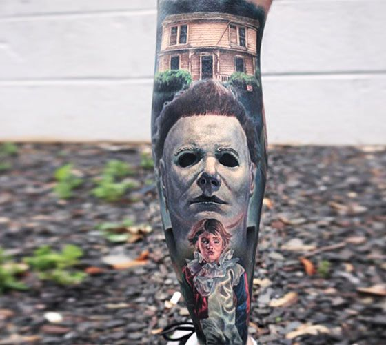 Michael myers from halloween movie tattoo by paul acker for Michael myers tattoo