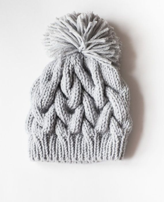 Hand Knit Winter pom pom hat. Cable Knit Hat. Chunky knits. Gray ...
