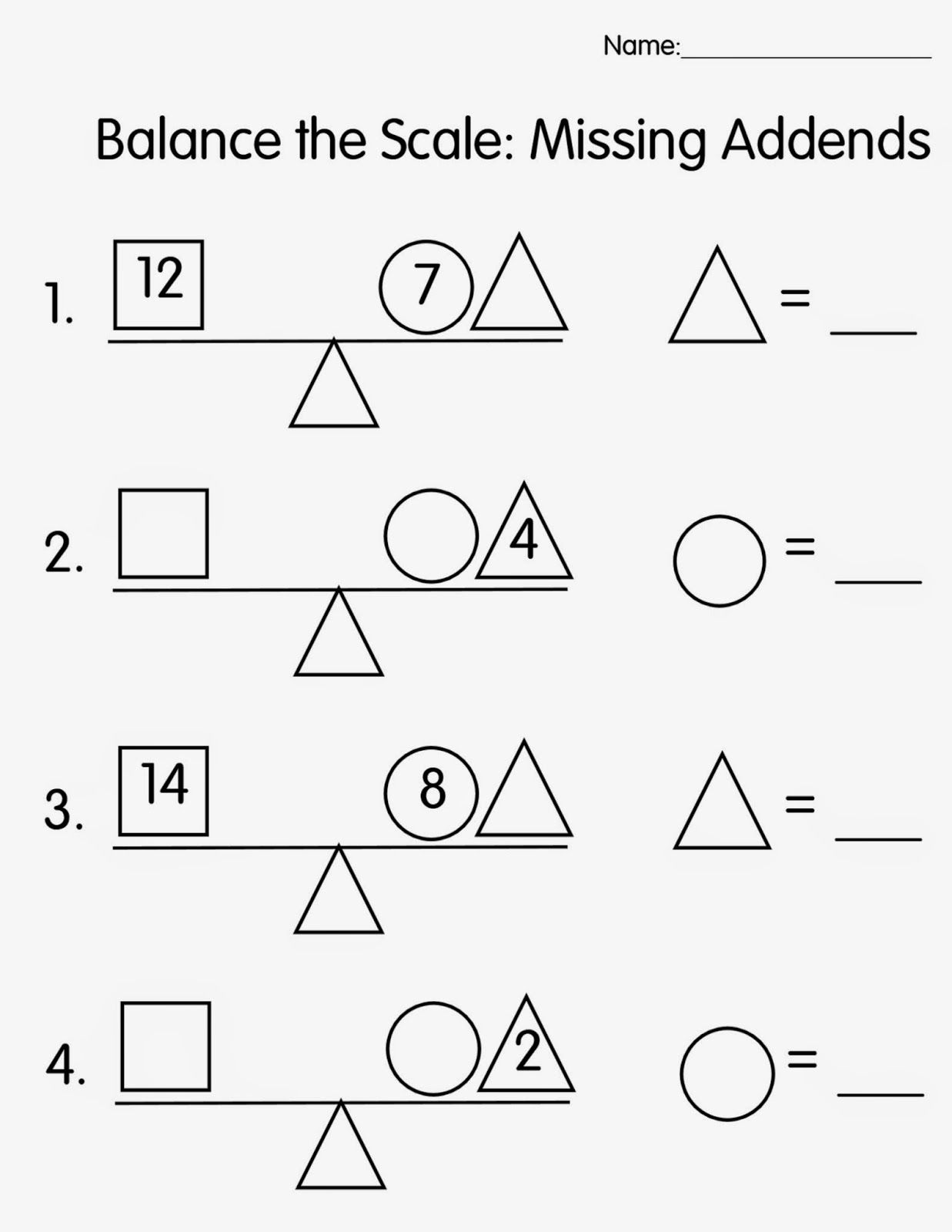Worksheets Missing Addend Worksheets free balance the scale missing addends 4 worksheets love this worksheet 1 2 3 addend story problems out of ace numbers online game
