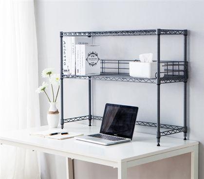 Suprima Desktop Carbon Steel Bookshelf Gray Dorm Room
