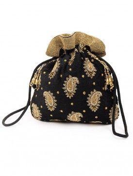 Black Paisley Zari Potli Bag