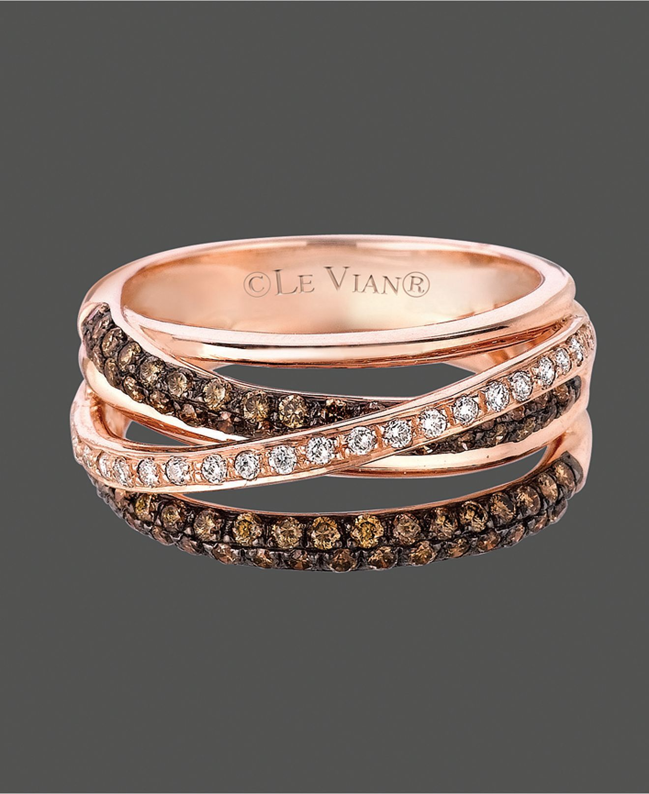 Le Vian Diamond Ring 14k Rose Gold White and Chocolate Diamond