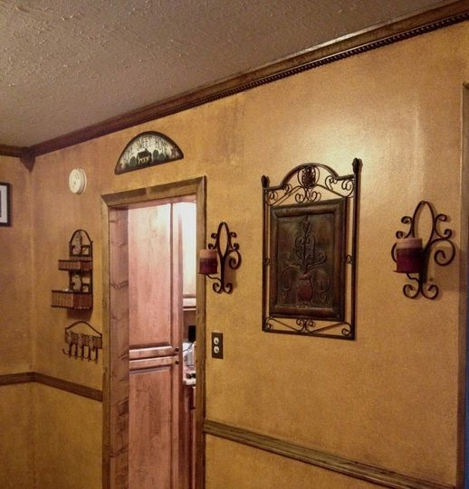 I HATED the mustard color on my walls. Using Behr faux ...