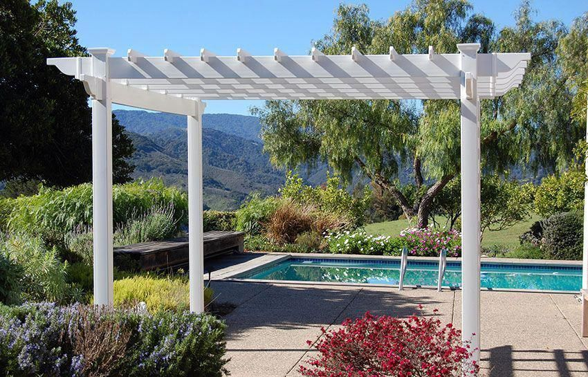 White vinyl pergola kit next to pool #pergolakitsdiy - White Vinyl Pergola Kit Next To Pool #pergolakitsdiy Pergola Plans