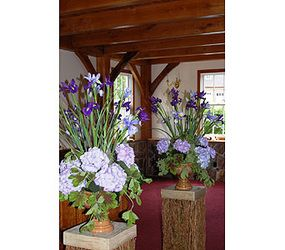 Iris and hydangeas - the bride and grooms favorite flowers.