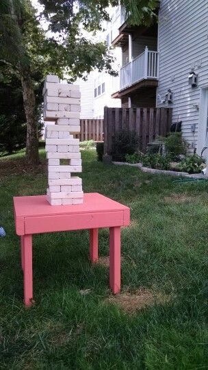 Homemade giant jenga set for cocktail hour at our wedding ...