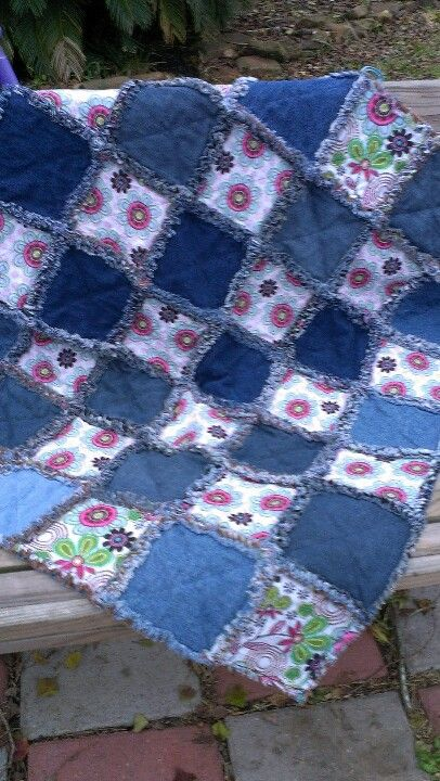 Denim and floral baby rag quilt. For sale | My Projects ... : rag quilt for sale - Adamdwight.com
