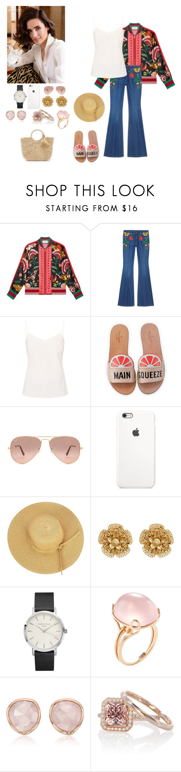 """""""before mom's  the take over"""" by lillitastic ❤ liked on Polyvore featuring Gucci, Ted Baker, Kate Spade, Ray-Ban, Miriam Haskell, Goshwara, Monica Vinader, Hat Attack and dreadfullysilent"""
