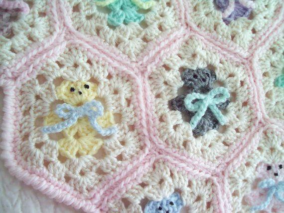Crochet Baby Blanket - Hexagon Teddy Bear Baby Blanket/Afghan & FREE ...