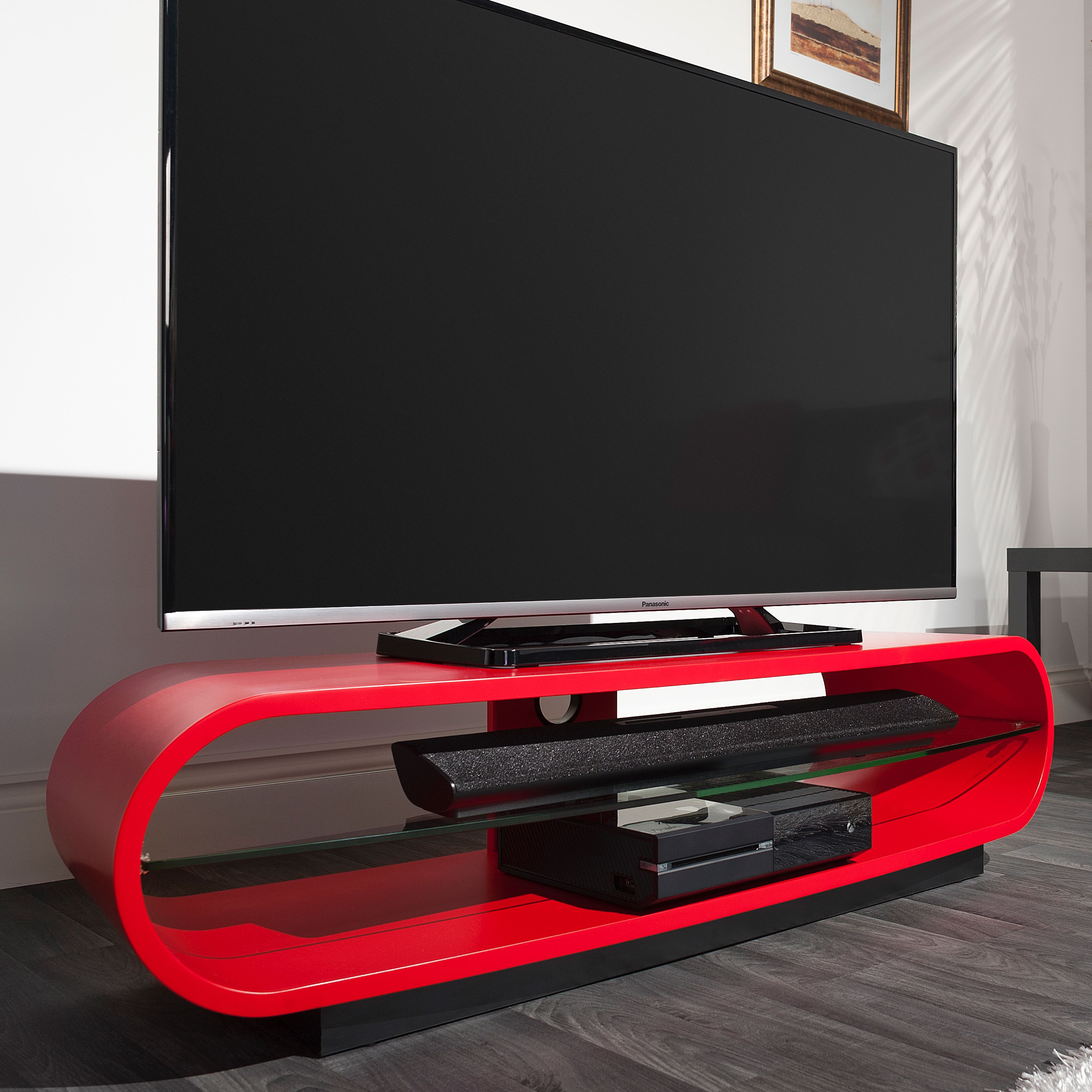 Techlink Ovid Curve Tv Stand Unit Satin Red Curved Tv Stand Tv