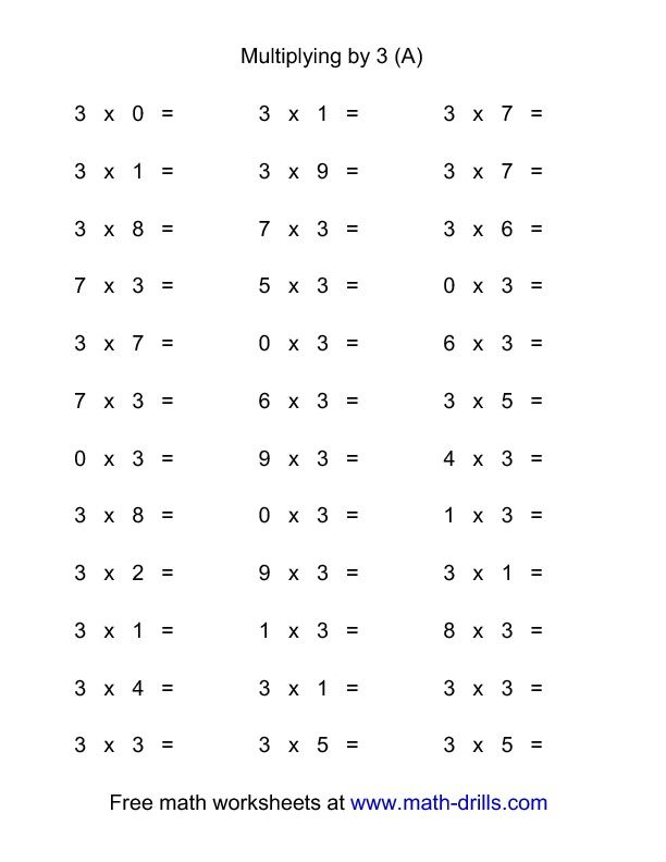 36 Horizontal Multiplication Facts Questions -- 3 by 0-9 (All - horizontal multiplication facts worksheets