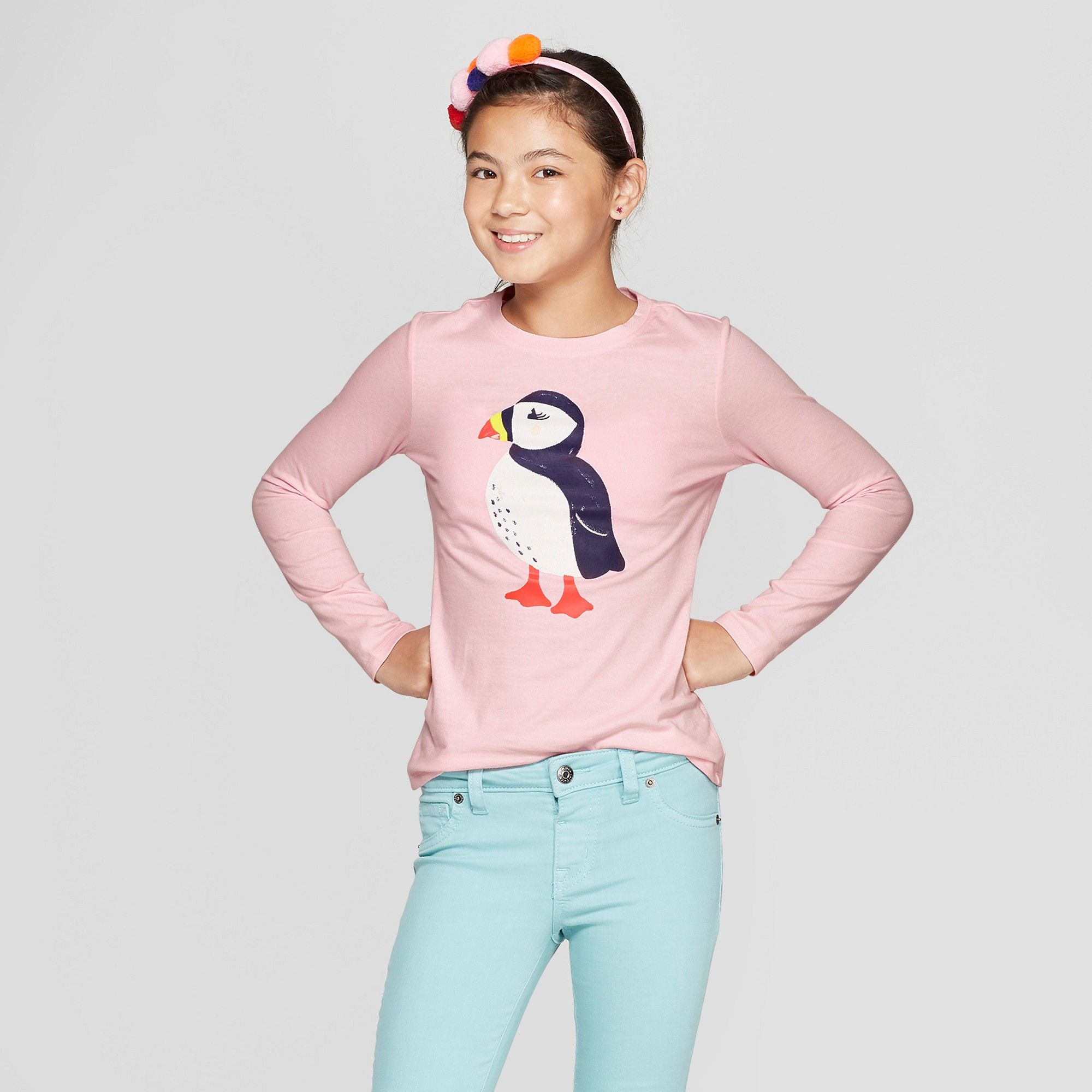 2cc837cc Girls' Long Sleeve Puffin Graphic T-Shirt - Cat & Jack™ Light Pink M ...