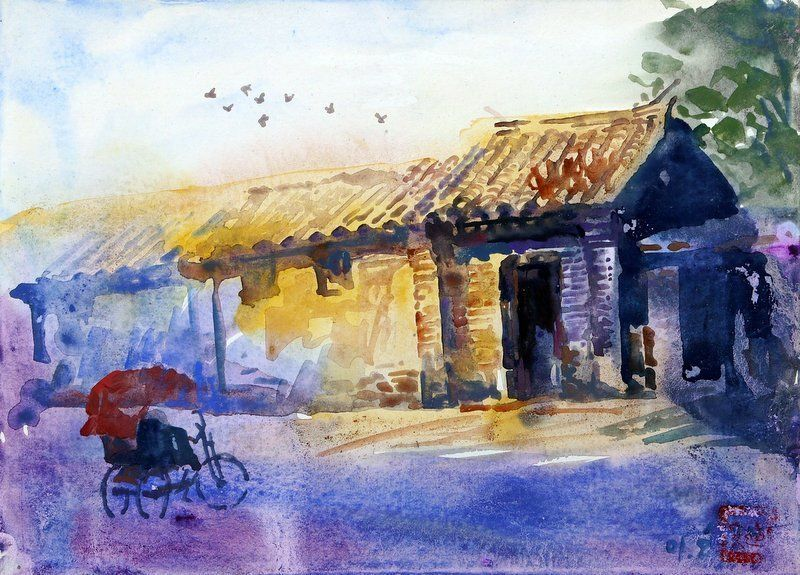 Watercolor Paintings Of Rustic Buildings L1000 Jpg Abstract
