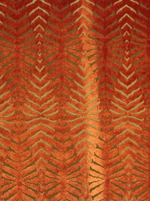 Orange Cut Velvet Fabric - Modern Animal Upholstery - FABRIC ON SALE