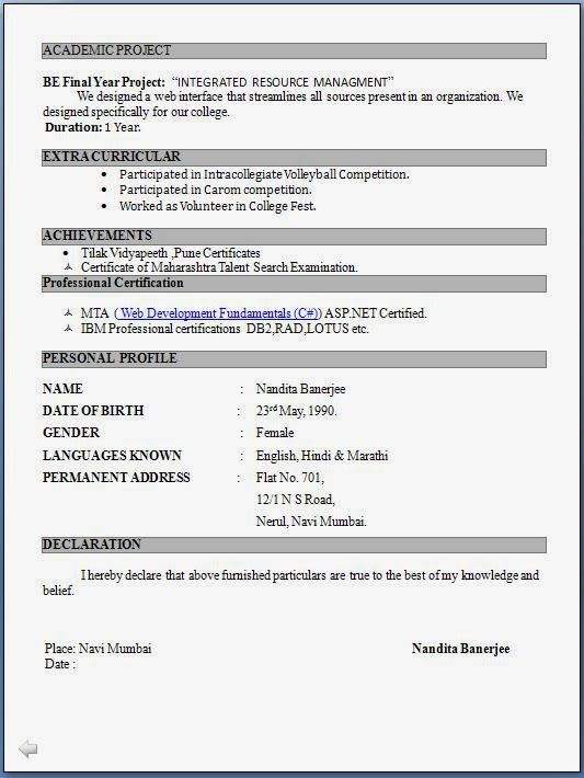 image result for resume format for freshers pdf
