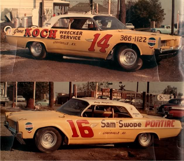 Harry Hyde's two Pontiacs which were the top competitors at the Fairgrounds Motor Speedway in Louisville in 1964 and 1965, before Harry moved up to NASCAR.