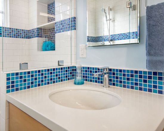 Inspiring Blue And White Bathroom Accessories Glossy Sink With Fixed Mosaic Tile
