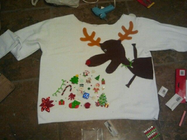 fd0f8ce629 My DIY Ugly Christmas Sweater... Rudolph vomiting Christmas.. Not too  difficult to make.