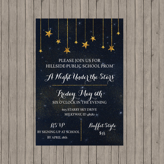 Starry Night Invitation Stars Wedding Invitation Starry Prom