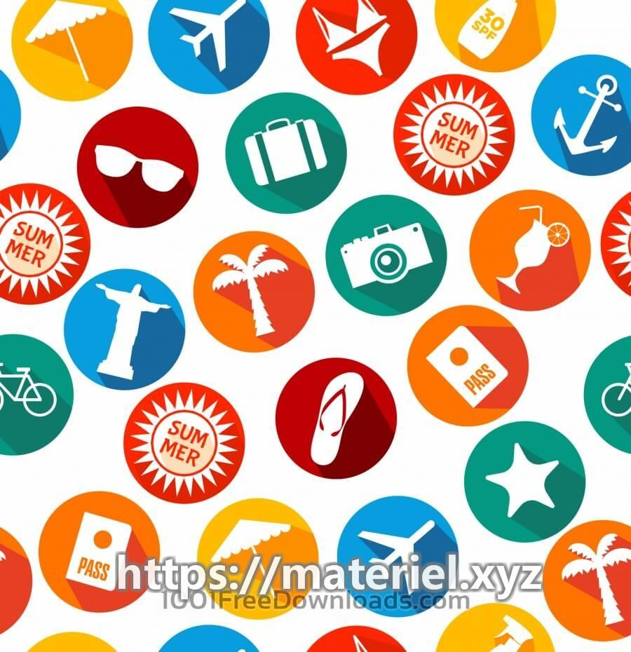 Summer icons background of bright icons Summer icons background of bright icons, Free Vector by psd