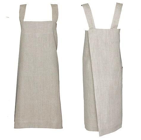cross back linen apron.