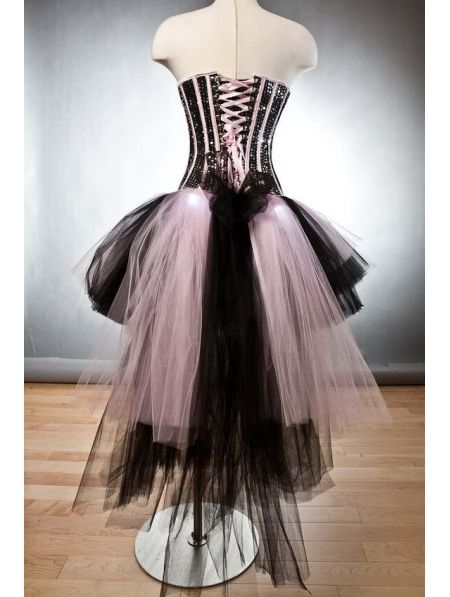Pink and Black Corset Prom Dresses