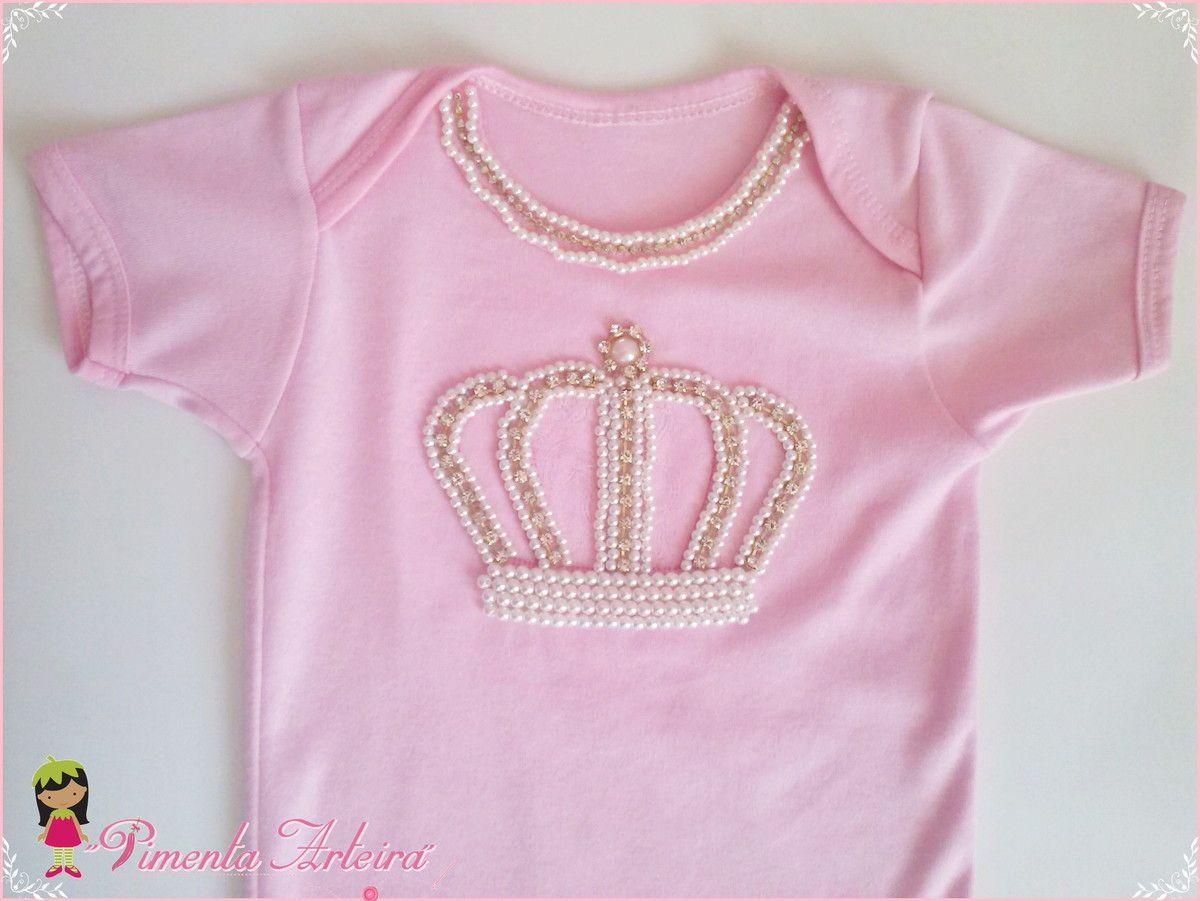 a8d544606 Body personalizado com coroa de Princesa bordada com pérolas e strass.  <br>Tamanhos